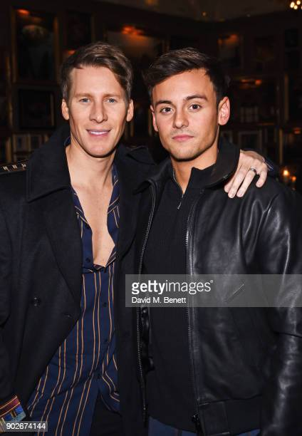 Dustin Lance Black and Tom Daley attend the GQ London Fashion Week Men's 2018 closing dinner hosted by Dylan Jones and Rita Ora at Berners Tavern on...