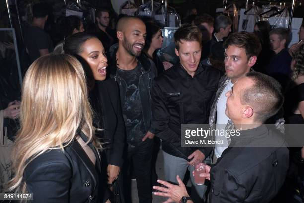 Dustin Lance BlackTom Daly Marvin Humes Rochelle Humes Amanda Holden with Designer Julien Macdonald backstage at the Julien Macdonald Spring Summer...