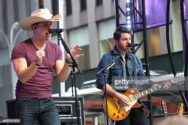 Dustin Lynch performs during 'FOX Friends' All American Concert Series outside of FOX Studios on September 9 2014 in New York City