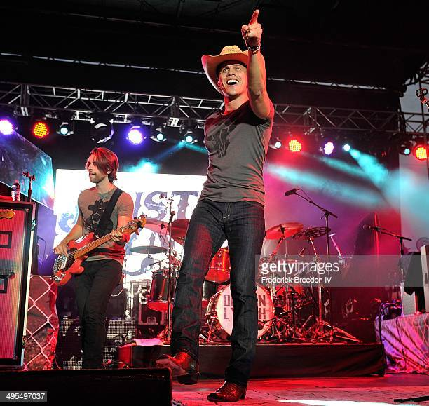Dustin Lynch performs during the Rodney Atkins 4th Annual Music City Gives Back on June 3 2014 in Nashville Tennessee