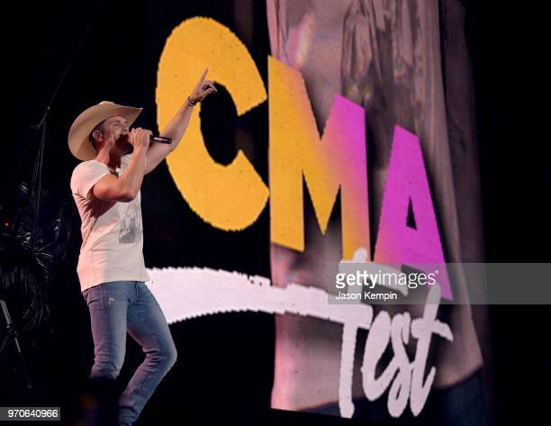 Dustin Lynch performs onstage during the 2018 CMA Music festival at Nissan Stadium on June 9, 2018 in Nashville, Tennessee.