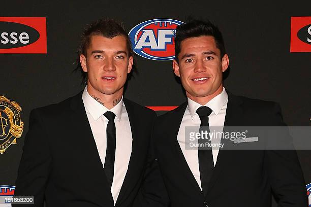 Dustin Martin and Aaron Edwards of the Tigers arrive ahead of the 2013 Brownlow Medal at Crown Palladium on September 23 2013 in Melbourne Australia