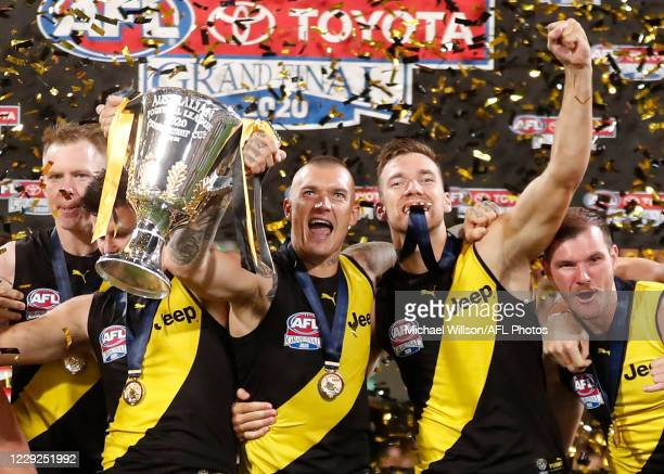 Dustin Martin and Noah Balta of the Tigers celebrate during the 2020 Toyota AFL Grand Final match between the Richmond Tigers and the Geelong Cats at...