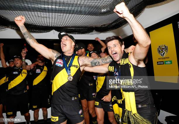 Dustin Martin and Trent Cotchin of the Tigers celebrate during the 2020 Toyota AFL Grand Final match between the Richmond Tigers and the Geelong Cats...