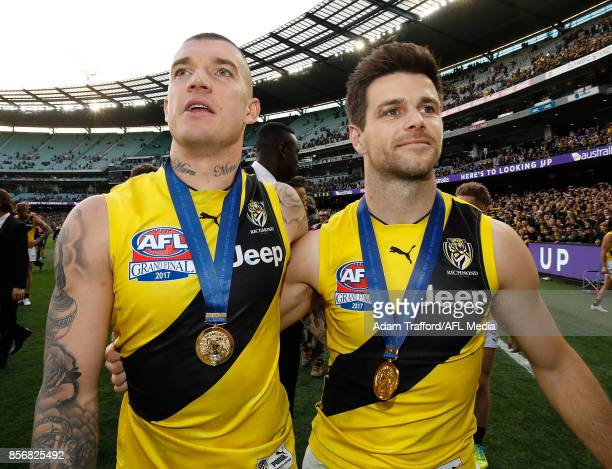 Dustin Martin and Trent Cotchin of the Tigers celebrate during the 2017 Toyota AFL Grand Final match between the Adelaide Crows and the Richmond...