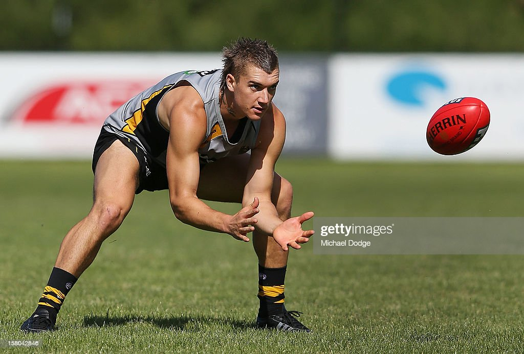 Dustin Martin marks the ball during a Richmond Tigers AFL training session at Trevor Barker Beach Oval on December 10, 2012 in Melbourne, Australia.