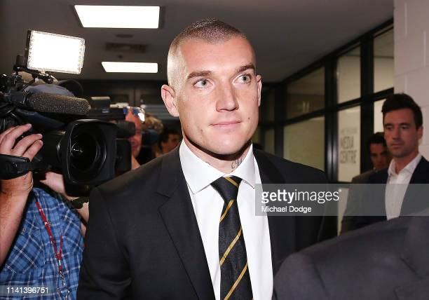 Dustin Martin of the Richmond Tigers leaves the AFL Tribunal Hearing at AFL House on April 09 2019 in Melbourne Australia