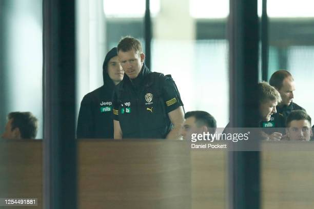 Dustin Martin of the Tigers and Jack Riewoldt of the Tigers are seen boarding a flight from Melbourne Airport on July 06, 2020 in Melbourne,...
