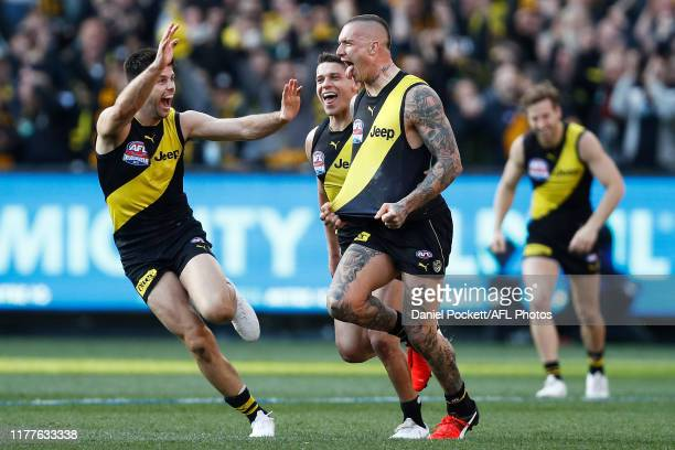Dustin Martin of the Tigers celebrates a goal during the 2019 AFL Grand Final match between the Richmond Tigers and the Greater Western Sydney Giants...