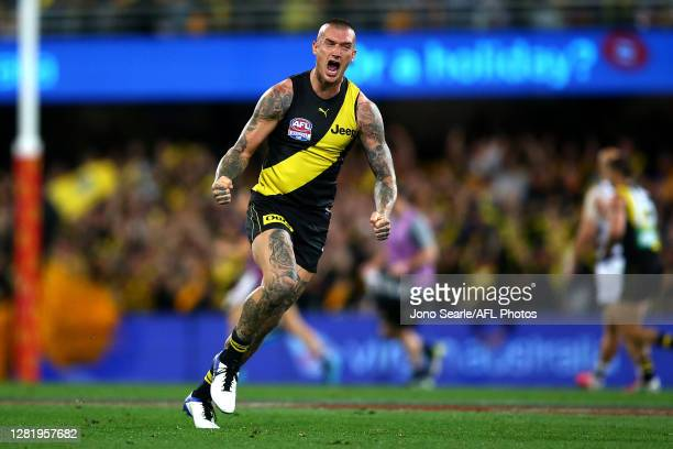 Dustin Martin of the Tigers celebrates a goal during the 2020 AFL Grand Final match between the Richmond Tigers and the Geelong Cats at The Gabba on...