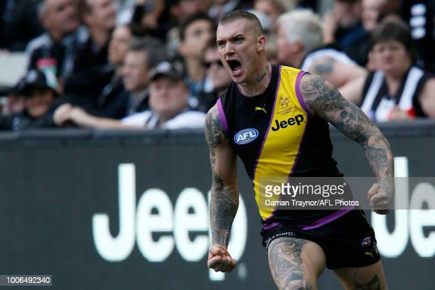 Dustin Martin of the Tigers celebrates a goal during the round 19 AFL match between the Richmond Tigers and the Collingwood Magpies at Melbourne...
