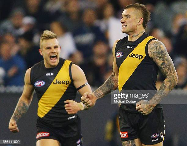 Dustin Martin of the Tigers celebrates a goal during the round 20 AFL match between the Richmond Tigers and the Collingwood Magpies at Melbourne...