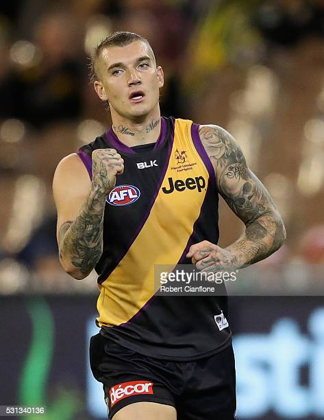 Dustin Martin of the Tigers celebrates a goal during the round eight AFL match between the Richmond Tigers and the Sydney Swans at Melbourne Cricket...