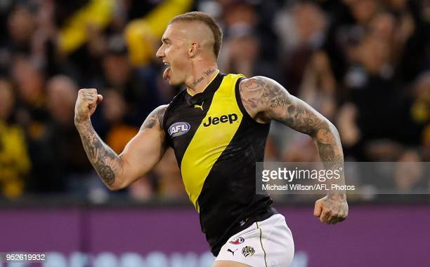 Dustin Martin of the Tigers celebrates during the 2018 AFL round six match between the Collingwood Magpies and the Richmond Tigers at the Melbourne...