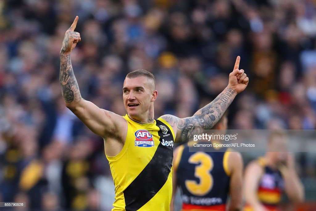 Dustin Martin of the Tigers celebrates kicking a goal during the 2017 AFL Grand Final match between the Adelaide Crows and the Richmond Tigers at Melbourne Cricket Ground on September 30, 2017 in Melbourne, Australia.