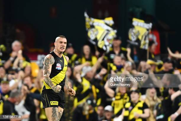 Dustin Martin of the Tigers celebrates kicking a goal during the 2020 AFL Grand Final match between the Richmond Tigers and the Geelong Cats at The...