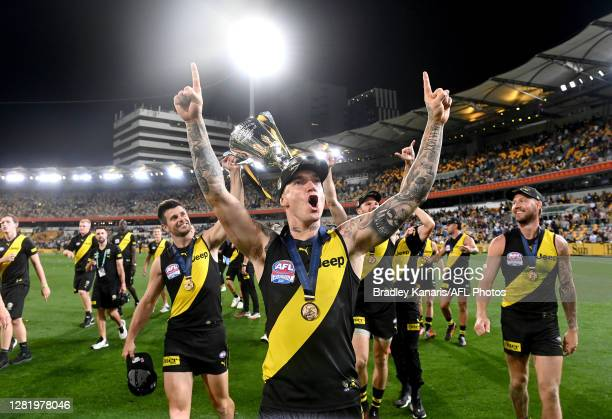 Dustin Martin of the Tigers celebrates victory after the 2020 AFL Grand Final match between the Richmond Tigers and the Geelong Cats at The Gabba on...