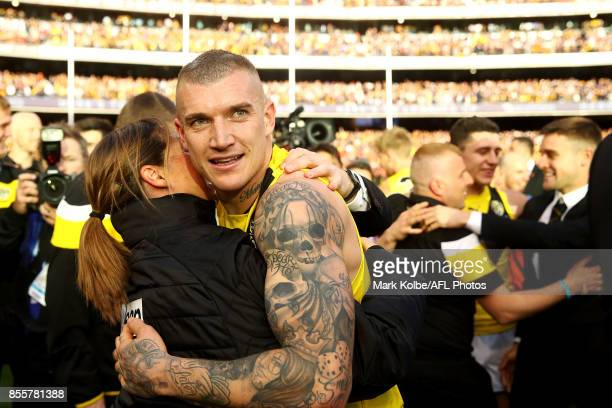 Dustin Martin of the Tigers celebrates victory during the 2017 AFL Grand Final match between the Adelaide Crows and the Richmond Tigers at Melbourne...