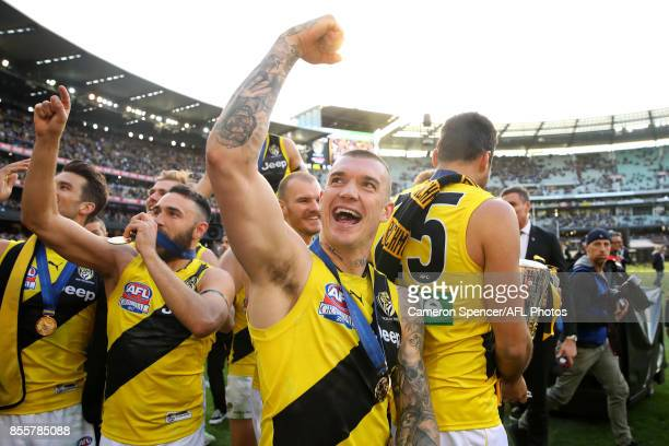 Dustin Martin of the Tigers celebrates winning the 2017 AFL Grand Final match between the Adelaide Crows and the Richmond Tigers at Melbourne Cricket...