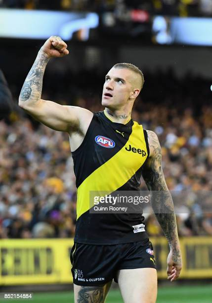 Dustin Martin of the Tigers celebrates winning the Second AFL Preliminary Final match between the Richmond Tigers and the Greater Western Sydney...