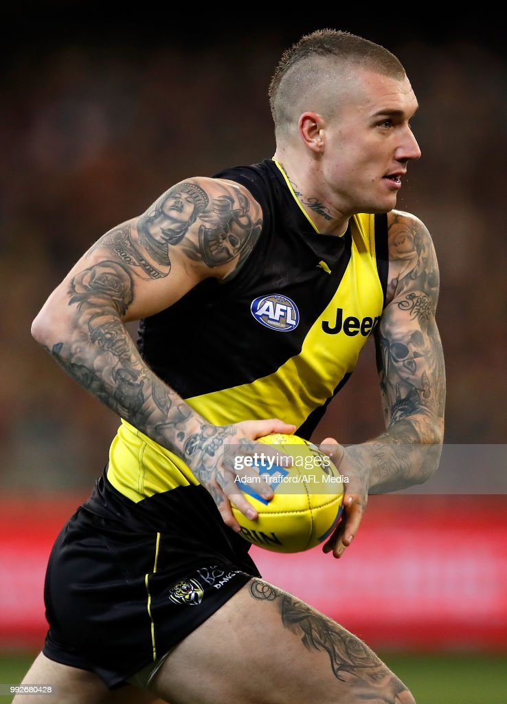 Dustin Martin of the Tigers in action during the 2018 AFL round 16 match between the Richmond Tigers and the Adelaide Crows at the Melbourne Cricket Ground on July 06, 2018 in Melbourne, Australia.