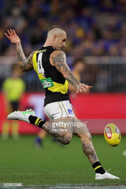 Dustin Martin of the Tigers in action during the round 14 AFL match between the West Coast Eagles and the Richmond Tigers at Optus Stadium on June...