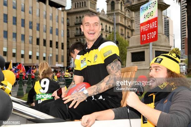 Dustin Martin of the Tigers is driven through the city during the 2017 AFL Grand Final Parade ahead of the Grand Final between the Adelaide Crows and...