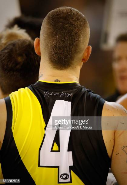 Dustin Martin of the Tigers is seen with the Lest We Forget logo on his jumper to commemorate Anzac Day during the 2017 AFL round 05 match between...