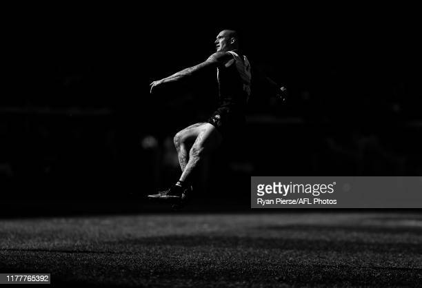 Dustin Martin of the Tigers kicks a goal during the 2019 AFL Grand Final match between the Richmond Tigers and the Greater Western Sydney Giants at...