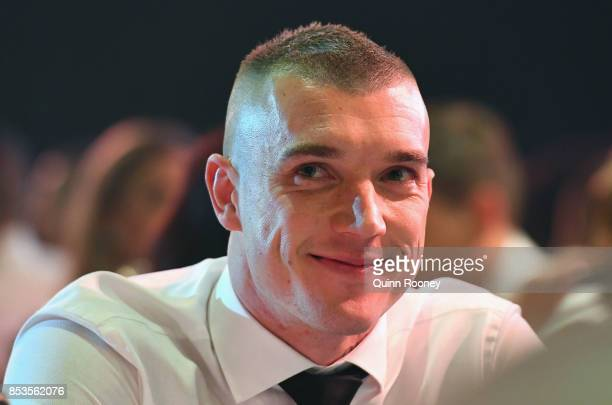 Dustin Martin of the Tigers listens in to the count at the 2017 Brownlow Medal at Crown Entertainment Complex on September 25 2017 in Melbourne...