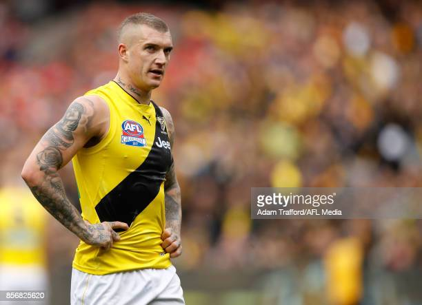 Dustin Martin of the Tigers looks on during the 2017 Toyota AFL Grand Final match between the Adelaide Crows and the Richmond Tigers at the Melbourne...