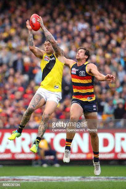 Dustin Martin of the Tigers marks during the 2017 AFL Grand Final match between the Adelaide Crows and the Richmond Tigers at Melbourne Cricket...