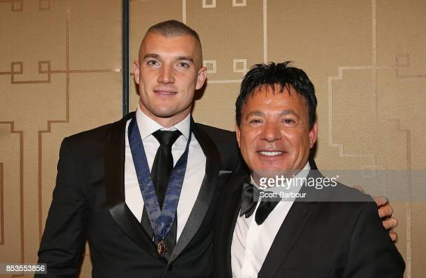 Dustin Martin of the Tigers poses with his manager Ralph Carr after winning the 2017 Brownlow Medal at the 2017 Brownlow Medal at Crown Entertainment...