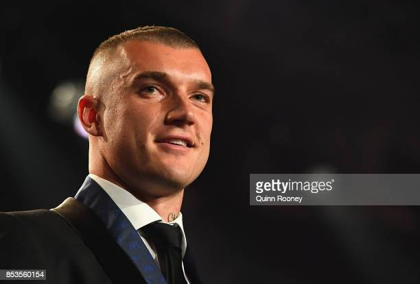 Dustin Martin of the Tigers speaks after being awarded the 2017 Brownlow Medallist at the 2017 Brownlow Medal at Crown Entertainment Complex on...