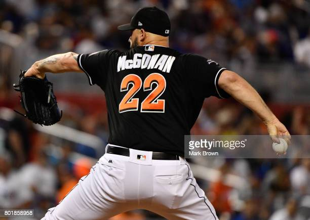 Dustin McGowan of the Miami Marlins in action during the game between the Miami Marlins and the Chicago Cubs at Marlins Park on June 24 2017 in Miami...