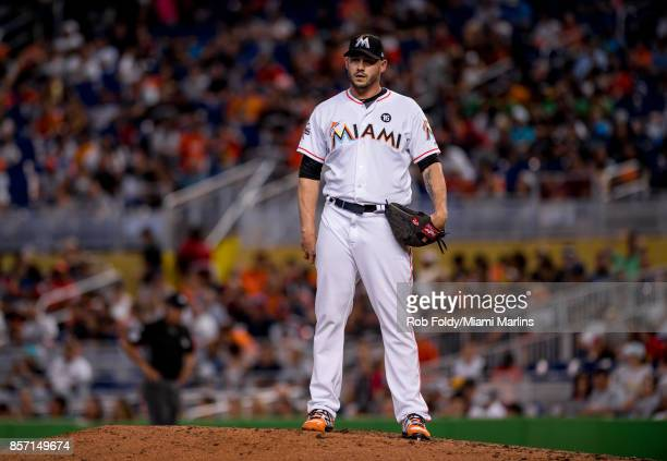 Dustin McGowan of the Miami Marlins looks on during the game against the Atlanta Braves at Marlins Park on October 1 2017 in Miami Florida