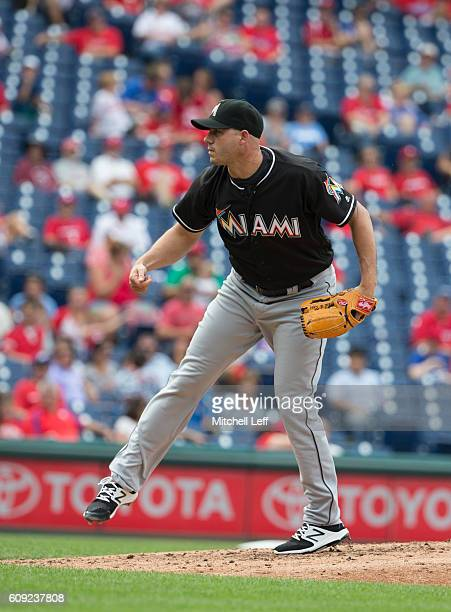 Dustin McGowan of the Miami Marlins pitches against the Philadelphia Phillies at Citizens Bank Park on September 18 2016 in Philadelphia Pennsylvania...