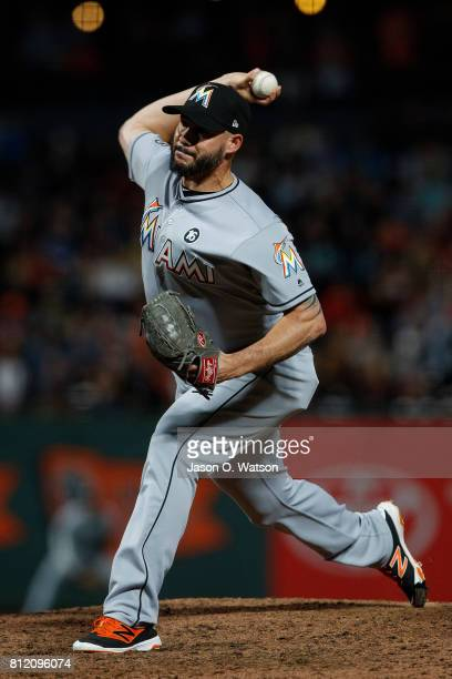 Dustin McGowan of the Miami Marlins pitches against the San Francisco Giants during the ninth inning at ATT Park on July 7 2017 in San Francisco...
