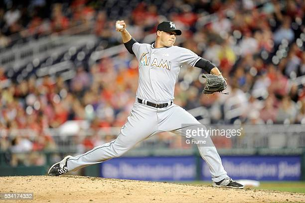Dustin McGowan of the Miami Marlins pitches against the Washington Nationals at Nationals Park on May 13 2016 in Washington DC