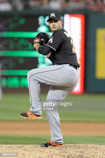 Dustin McGowan of the Miami Marlins pitches against the Washington Nationals at Nationals Park on April 5 2017 in Washington DC