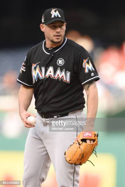 Dustin McGowan of the Miami Marlins pitches during a baseball game against the Washington Nationals at Nationals Park on August 30 2017 in Washington...