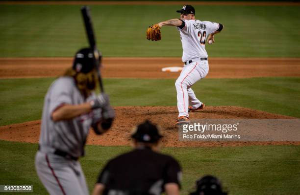 Dustin McGowan of the Miami Marlins pitches during the game against the Washington Nationals at Marlins Park on September 4 2017 in Miami Florida