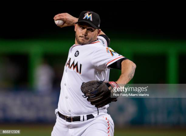Dustin McGowan of the Miami Marlins pitches during the game against the Atlanta Braves at Marlins Park on September 28 2017 in Miami Florida