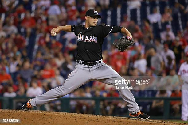 Dustin McGowan of the Miami Marlins throws a pitch in the seventh inning during a game against the Philadelphia Phillies at Citizens Bank Park on...