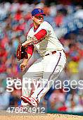 Dustin McGowan of the Philadelphia Phillies in action against the San Francisco Giants during a MLB game at Citizens Bank Park on June 6 2015 in...