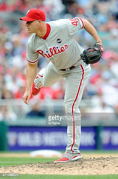 Dustin McGowan of the Philadelphia Phillies pitches against the Washington Nationals at Nationals Park on April 19 2015 in Washington DC