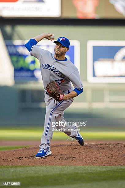 Dustin McGowan of the Toronto Blue Jays pitches against the Minnesota Twins on April 17 2014 at Target Field in Minneapolis Minnesota The Twins...