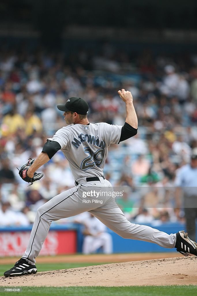 Dustin McGowan of the Toronto Blue Jays pitches during the game against the New York Yankees at the Yankee Stadium in the Bronx, New York on July 19, 2007. The Blue Jays defeated the Yankees 3-2.