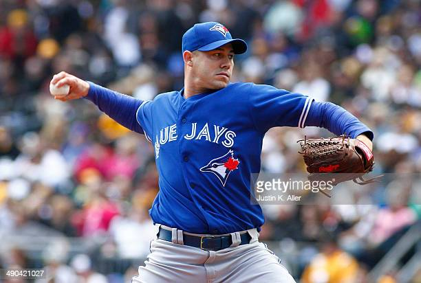 Dustin McGowan of the Toronto Blue Jays plays against the Pittsburgh Pirates during the game at PNC Park May 4 2014 in Pittsburgh Pennsylvania