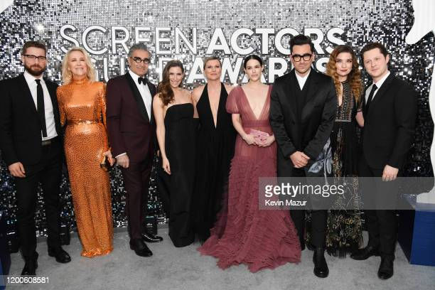 Dustin Milligan Catherine O'Hara Eugene Levy Sarah Levy Jennifer Robertson Emily Hampshire Daniel Levy Annie Murphy and Noah Reid attend the 26th...